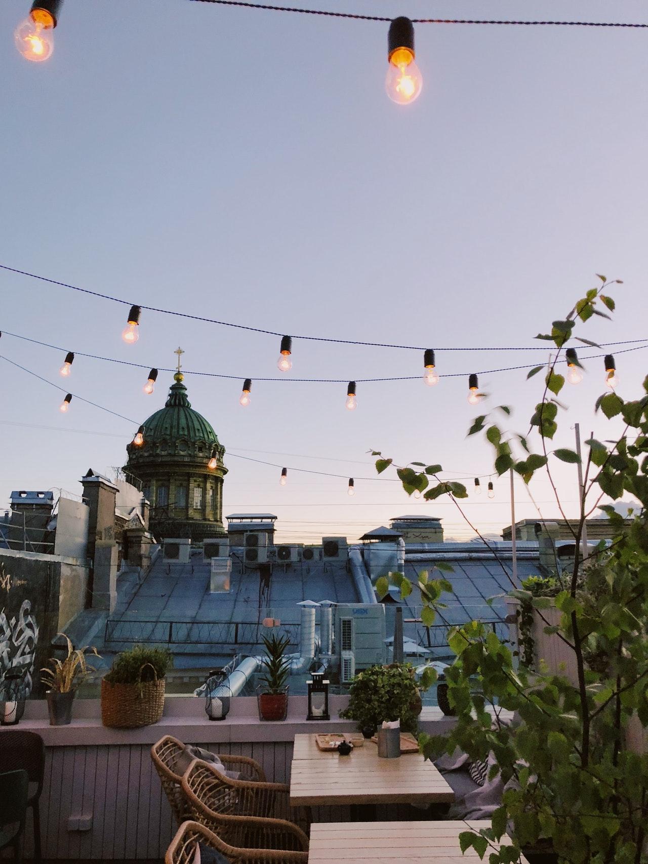 string lights on small balcony