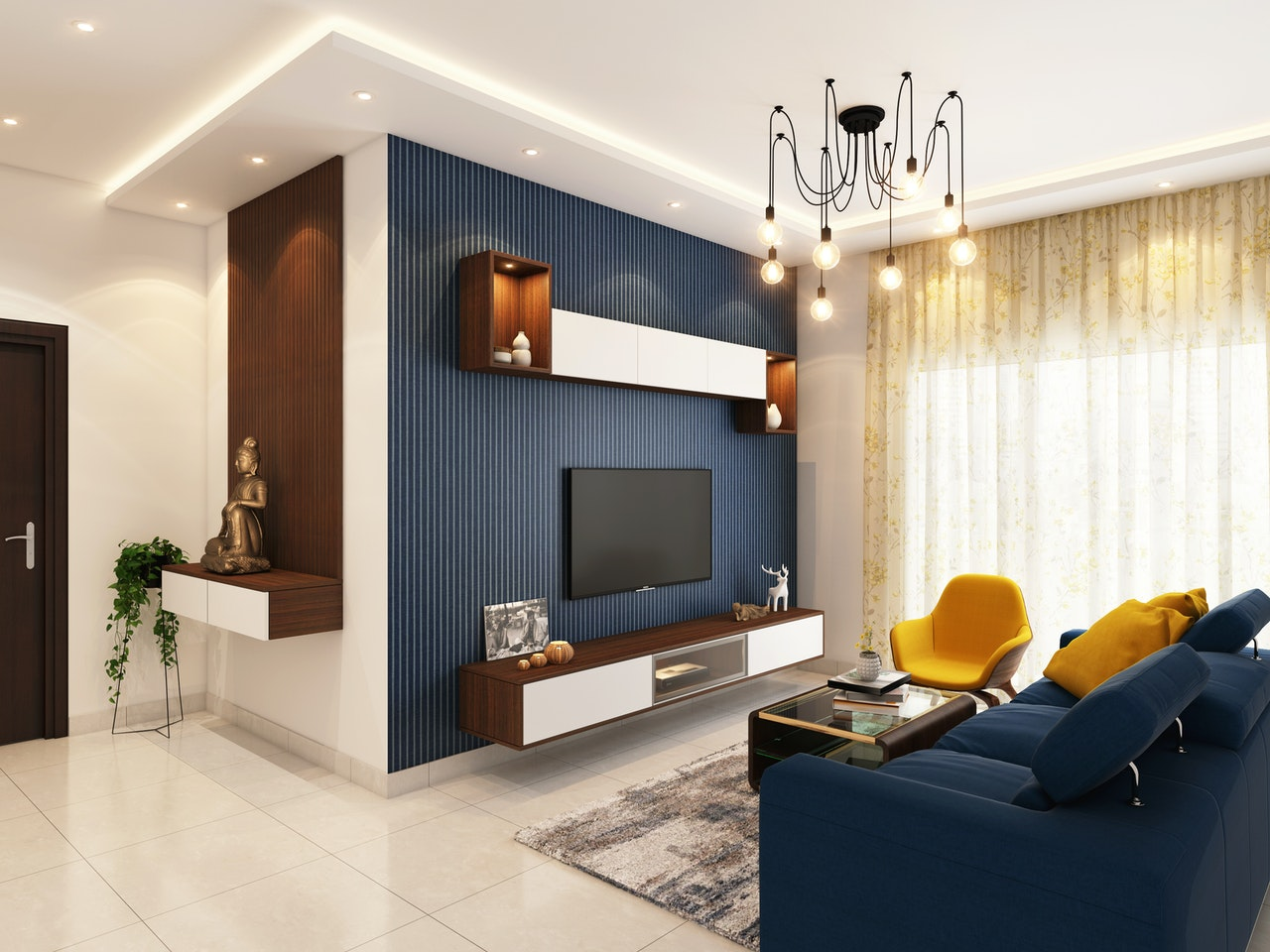 use of color in interior design of living room