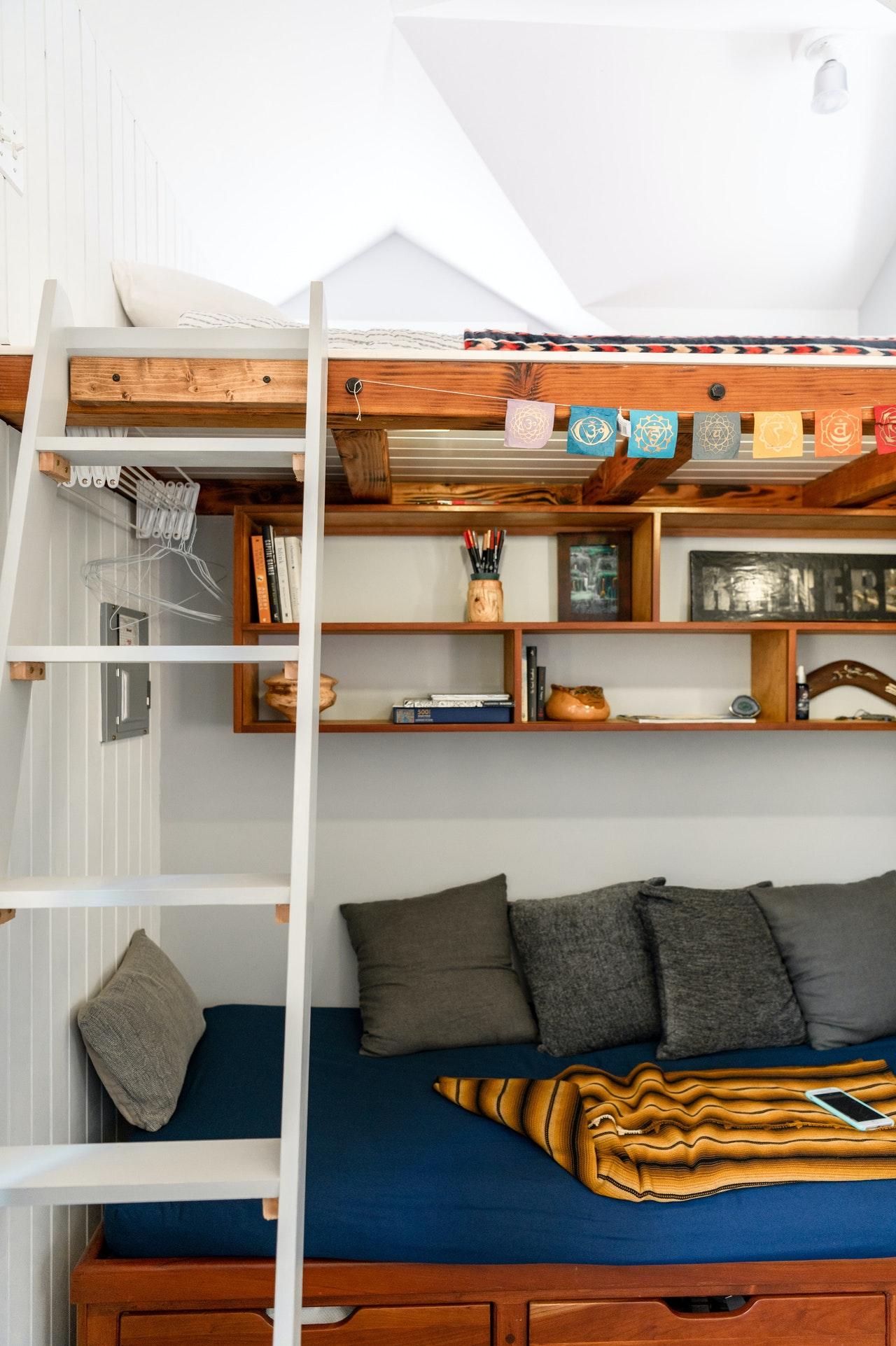 shelves as storage idea for tiny house