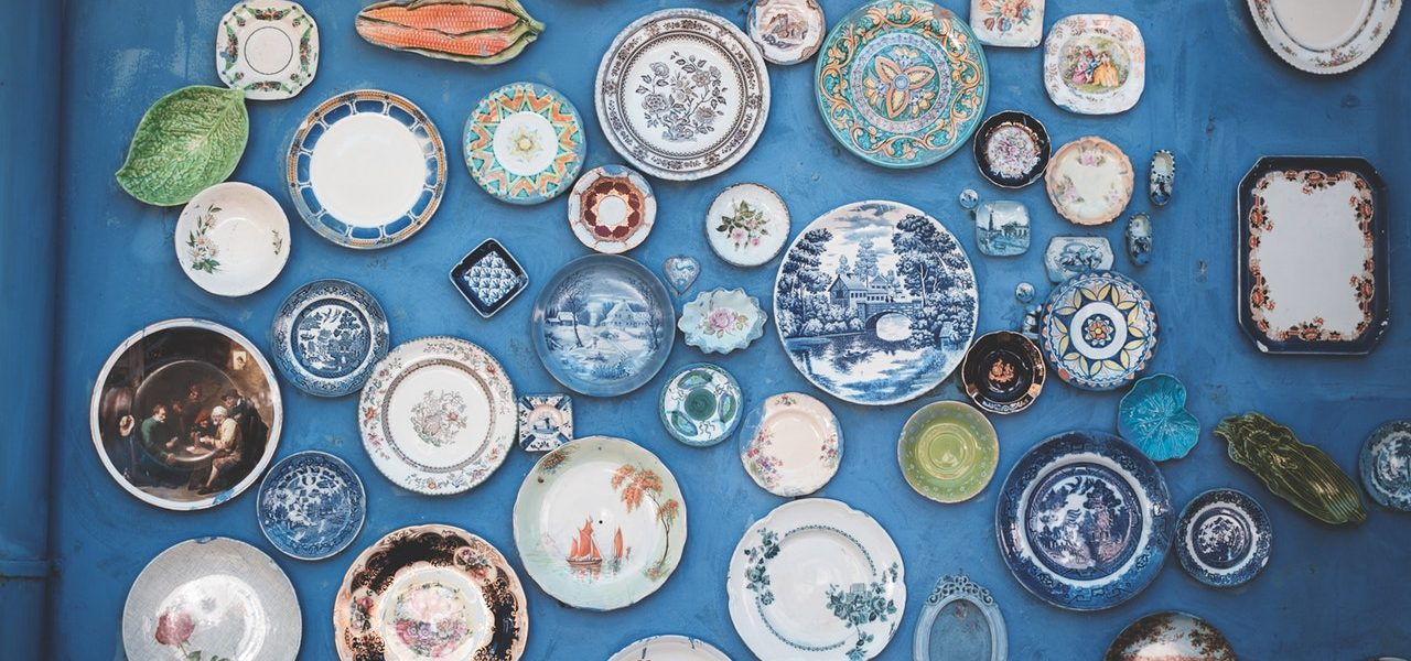 beautiful plates on the wall