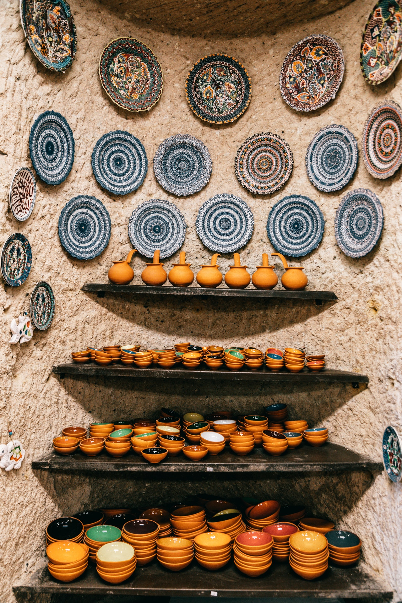 decorative plates hanging off the wall