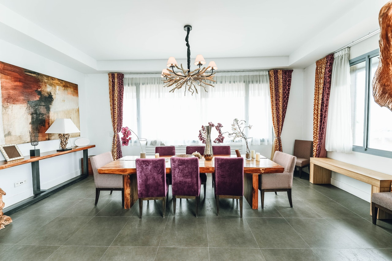 dining room with pop of color